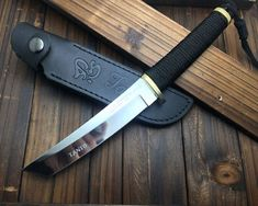 Mirror Finish Genuine 440 Steel Brass Guard Full Tang Knife Tanto Japan Sword for sale online Swords And Daggers, Knives And Swords, Knife Template, Armas Ninja, Knife Patterns, Butterfly Knife, Combat Knives, Cool Knives, Tactical Knives