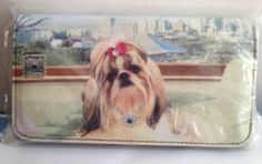 Lhasa Apso Wallet Checkbook Credit Card Slots Show dogs Red Bow Clear Crystals