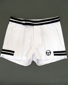 f1393f45853a5 Sergio Tacchini - Vitas Shorts In White & Navy / The Business Dyer Shorts