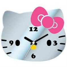 Hello Kitty Mirror Face Clock (Batteries NOT Included)