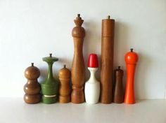 Vintage Danish modern turned wood Pepper Mills