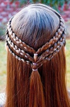 Three small braids pulled together, to make a really cute teen/tween girl hairst. Three small braids pulled together, to make a really cute teen/tween girl hairstyle! Cool Hairstyles For Girls, Up Hairstyles, Hairstyle Ideas, Halloween Hairstyles, Natural Hairstyles, Pinterest Hairstyles, Elvish Hairstyles, Easy Kid Hairstyles, Wedding Hairstyles