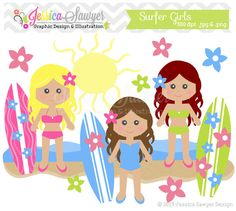 INSTANT DOWNLOAD, surfer girl clipart, beach clip art, for commercial use, digital scrapbooking, invites, announcements