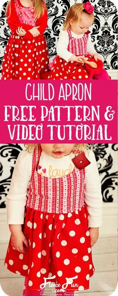 I love this cute apron pattern for little girls. It's a perfect little gift for my little baker. Great sewing DIY idea.
