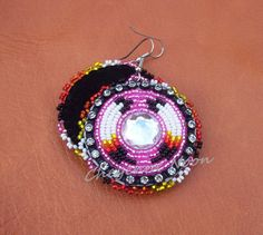 Native American Beaded Earrings  TWO FEATHERS by CheyenneNoon, $35.00