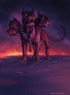 Cerberus, guardian of Hades. Note the red eyes, bones, and spiked collar: A beast guards the entrance to hell. Greek Mythological Creatures, Mythical Creatures Art, Magical Creatures, Fantasy Creatures, Dark Fantasy Art, Dark Art, Dragons, Hades And Persephone, Creature Design