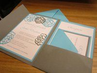 cricut invitations. lily's instead of roses with purple?