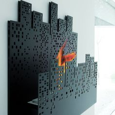 Cityscape Wall-Mounted Fireplace by James Di Marco