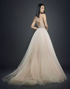 Style 3712 - blush pleated ball gown, v neckline front and back, floral bodice