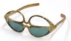 RARE Paulette Guinet Hand Carved Prototype Gold Leaf Reader Sunglasses