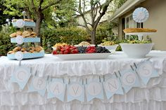 """Cravings"" snack station  Shake Rattle Roll Boy Themed Baby Shower idea via Kara's Party Ideas www.KarasPartyIdeas.com"