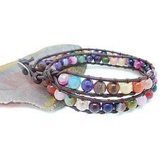 Vintage Style Vriendschap Weaving Leer 2 wrap armband met agaat (CLJ-B-321) – EUR € 10.11