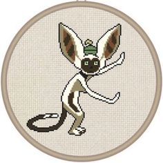 dijera: New cross stitch pattern in my etsy shop: DJStitches.etsy.com of Momo the lemur from Avatar the last airbender! ....I can hear the theme music in my head! Lol