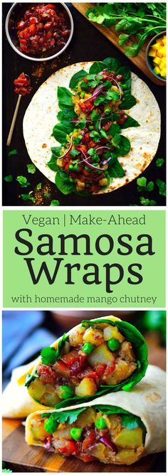 vegan samosa wraps are super easy to put together with spiced potatoes and peas, crisp greens, spicy red onion and a simple homemade mango chutney. Make these samosa wraps ahead and freeze them for a quick lunch (or dinner) throughout the week. Veggie Recipes, Indian Food Recipes, Whole Food Recipes, Vegetarian Recipes, Cooking Recipes, Healthy Recipes, Dinner Recipes, African Recipes, Wrap Recipes