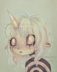unicorn girl creepy cute fantasy lowbrow fine art by WhiteStag
