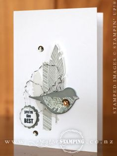 Monday, 01 September 2014 Kristine McNickle creative stamping:  Around The World Stampin' Up! Challenge... Four Feathers  monochromatic note card Banner Banter, Bird Builder Punch...