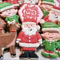Flour Box Bakery has hand-iced decorated cookie gifts and favors, how-to cookie decorating video tutorials, and professional and affordable decorating supplies. Santa Cookies, Holiday Cookies, Sugar Cookies, Decorating Supplies, Cookie Decorating, Decorating Ideas, Santa Christmas, Christmas Treats, Christmas Baking
