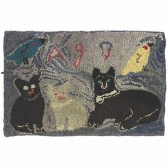 A HOOKED RUG DEPICTING THREE CATS AND TWO BIRDS, PROBABLY PENNSYLVANIA#Repin By:Pinterest++ for iPad#