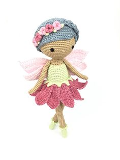 Mesmerizing Crochet an Amigurumi Rabbit Ideas. Lovely Crochet an Amigurumi Rabbit Ideas. Crochet Fairy, Crochet Puff Flower, Crochet Flower Patterns, Crochet Toys Patterns, Cute Crochet, Amigurumi Patterns, Crochet Flowers, Pattern Flower, Crochet Mittens Pattern