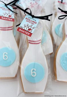 Bowling cookies {by Kiss Me Kate Events, printable tags from chickabug.com}