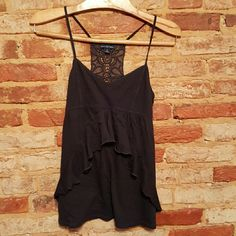 American Eagle black tank Cute black spaghetti strap tank with lace detailing on the back. EUC American Eagle Outfitters Tops
