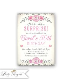Surprise Party 50th Birthday Invitations For A Woman Vintage Invites Her 50 And Fabulous 40th 30th 21st Any Age