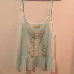 Light blue tank top Light weight material with lace and sequins on the front Hollister Tops Blouses