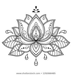 Mehndi Lotus flower pattern for Henna drawing and tattoo. Decoration in ethnic oriental, Indian style. Mehndi Lotus flower pattern for Henna drawing and tattoo. Decoration in ethnic oriental, Indian style. Pattern Tattoo, Henna Tattoo, Mandala Tattoo, Henna Patterns, Mandala, Mandala Design Art, Henna Drawings, Flower Tattoo, Flower Patterns