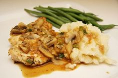 chicken marsala....one of my favorite chicken dishes.  i usually use basil though and not marjoram.