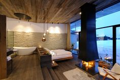 Wiesergut Hotel by Gogl & Partners Architekten #design #interior #house #architecture #building #hotel #designidea #interioridea #missdesign #winter #vacation #fire #fireplace