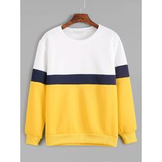 SheIn(sheinside) Color Block Long Sleeve Sweatshirt (1,025 INR) ❤ liked on Polyvore featuring tops, hoodies, sweatshirts, multicolor, long sleeve sweatshirts, colourblock sweatshirt, round neck sweatshirt, stretch top and color block tops