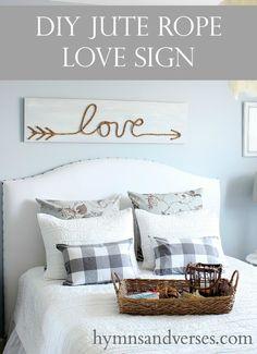DIY Jute Rope Love Sign - Hymns and Verses