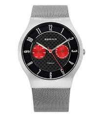 Silver Bering Watch with Red Chrono