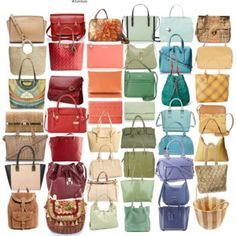 Soft Autumn Light Handbags - I think a couple of the reds are a hint too deep and clear, but overall really good!
