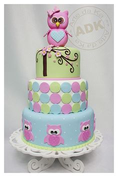Pink, Blue & Green Dots and Blossoms Owl Cake