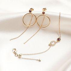 Garnet Gemstone Front Facing Hoop Earrings