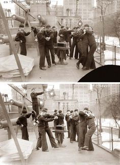 """Dancing Sailors / on board the U.S.S. Recruit, a wooden battleship erected by the Navy.  It served as a World War I recruiting station at Union Square in NY from 1917 to 1920, when it """"set sail"""" for Coney Island."""