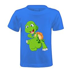 Snowl Cute turtle cartoon giving punch Kid's Crew Neck Personalized T-shirt Blue - Brought to you by Avarsha.com