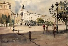 Laurentino Marti Spanish Art, Cityscapes, Watercolor And Ink, Watercolors, Boats, Louvre, Street View, Paintings, Travel