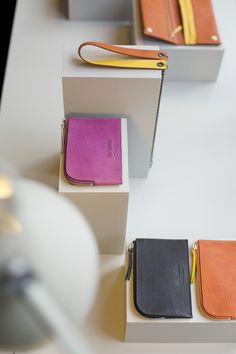 In collaboration with Anglepoise, the Small Leather Goods on display at Ally Capellino's Calvert shop.