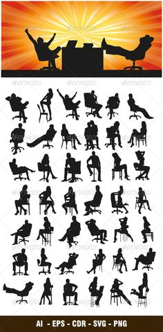 Sitting Silhouettes #GraphicRiver Nice and High Detail vector. In this files include ai and eps version. you can open it with adobe illustrator cs and other vector supporting applications. i hope you like my design, thanks This Files consists of : AI ( Adobe Illustrator ) EPS CDR ( Corel Draw ) SVG ( inkscape – free vector software ) PNG visit my silhouettes collection graphicriver /collections/3119286-silhouettes Created: 19March13 GraphicsFilesIncluded: TransparentPNG #V...