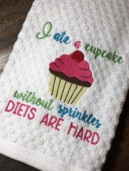 Cupcake – Diet – Towel Design – 2 Sizes Included – Embroidery Design – DIGITAL Embroidery DESIGN – Nana's Handmade Baby Boutique