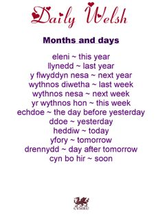 Daily Welsh: Months and days.