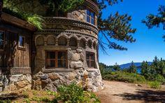 Скачать обои горы, деревья, берег, озеро, Lake Tahoe, дом, лес, США, раздел пейзажи в разрешении 1440x900