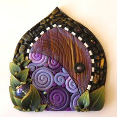 Fairy Door in Purple Swirl, Miniature Pixie Portal, Home and Garden Decor, Daydreaming Polymer Clay Door, Tooth Fairy Door by Claybykim on Etsy