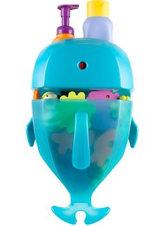 This Boon Whale Pod holds all my daughter's #bath toys and even shampoo and conditioner. It's one of the best bathroom storage products – just scoop up the toys out of the bath when you're done and hang 'em up!