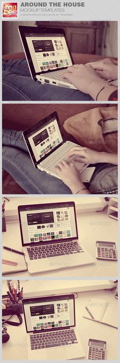 Around the House Laptop Mockup Template is sold exclusively on graphicriver, it can be used for your Web Theme or App! etc. The download includes 4 Mockups with Smart object for easy placement of images.