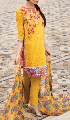 Buy Yellow #Embroidered Cotton Lawn Dress by Khaadi 2016 Contact: 702-7513523 Email: info@pakrobe.com Skype: PakRobe