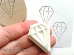 diamond rubber stamp. hand carved rubber stamp. hand carved stamp. geometric shape. diy wedding. bridal shower. craft projects. mounted.