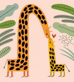 Giraffe Illustration, Cute Illustration, Character Illustration, Graphic Design Illustration, Funny Art, Animal Paintings, Cute Drawings, Creative Art, Canvas Art